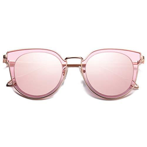 SOJOS Schick Klassische Retro Rund UV Schützen Polarisiert Sonnenbrille für Damen und Herren SJ1057 mit Gold Rahmen/Rosa Linse