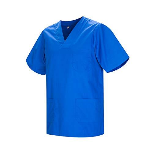 MISEMIYA - Gesundheitsuniformen Uniformen Hemd T-Shirts Unisex Spitze Kragen Kurze ÄRMEL UNIFORM KLINIK Krankenhaus Reinigung Gesundheit Me - X-Small, Blau Royal