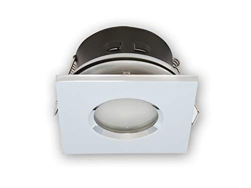 Vochtige ruimtes IP20 / 44 inbouwspot GU10 inbouwframe downlight waterdicht Ø73 mm boorgat aluminium incl. GU10 fitting voor LED-lampen, hoekig, chroom