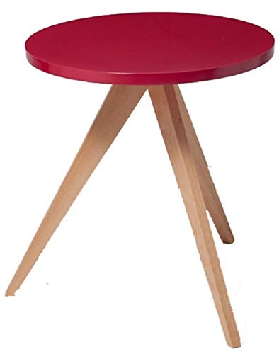 Verone Mobili Mesa Auxiliar Modelo Orbita Color Rojo con Patas de Madera y Tapa de Madera lacada roja