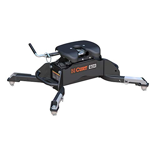 CURT 16047 Q24 5th Wheel Hitch, 24,000 lbs, Select Ram 2500, 3500, 8-Foot Bed Puck System ,Black