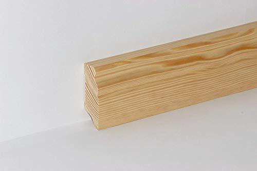 KGM Sockelleiste Kiefer massiv | Hamburger Profil 60mm ✓Massive Holzleiste ✓Echtholz Kiefer natur lackiert ✓Parkettleiste | Massive Holzleiste Kiefer 21x60x2400mm ideal für Parkett