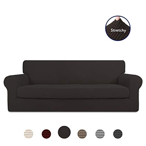 PureFit 2 Pieces Stretch Slipcover for 3 Cushion Couch – Spandex Jacquard Non-Slip Soft Fitted Sofa Couch Cover, Washable Furniture Protector with Non Skid Elastic Bottom for Kids (Sofa, Chocolate)