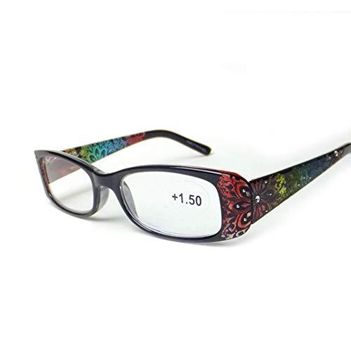 Z&HA mannelijke en vrouwelijke leesbril, ultralichte laser-ingesloten frames, bril met kleurrijke tempels, leesbril voor het lezen van kranten +150 tot +300