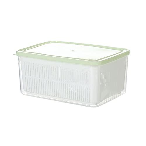 Fiambrera Envase de almacenamiento de alimentos de plástico para la cocina, recipientes de comida plástica con canasta de drenaje extraíble y tapa, bandeja para mantener las frutas, verduras y más