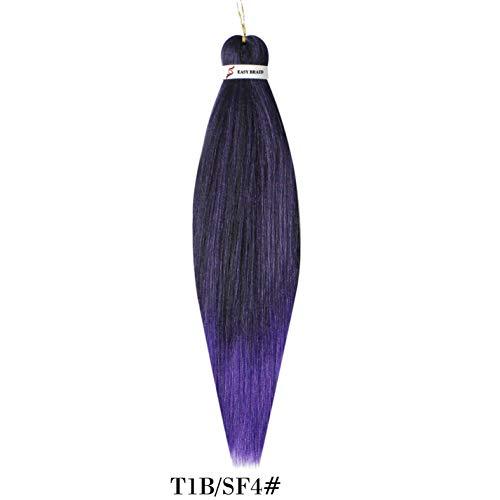 26' 3Packs EZ Twist Braids Sissi's Fashion Hair Hot Water Setting Pre Stretched Braiding Layer Ending Hair Perm Yaki Synthetic Ombre Braid Hair Extensions Crochet Braids for Fashion Woman (1B/SF4)