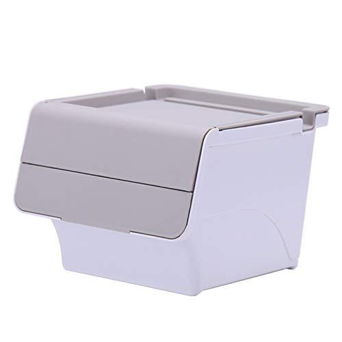Caja de almacenamiento de maquillaje, caja de almacenamiento de escritorio, tapa abatible, organizador de papeleras, mini bonita caja de almacenamiento de mesa para dormitorio, baño (gris)