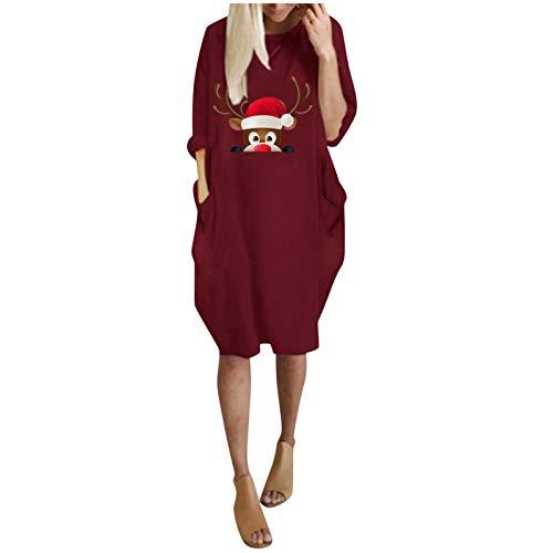 Vestido de invierno para mujer, de manga larga, estampado navideño, tallas grandes, para invierno, para mujer, de manga larga, para fiesta de cumpleaños de boda (Vino-S)