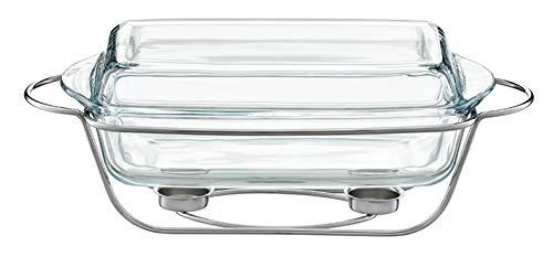 AMBITION Speisewärmer aus Glas mit Vorwärmer Hitzebeständiges Gefäß Saule 3,9 L