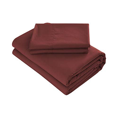 Prime Bedding Bed Sheets - 4 Piece Full Size Sheets, Deep Pocket Fitted Sheet, Flat Sheet, Pillow Cases - Burgundy