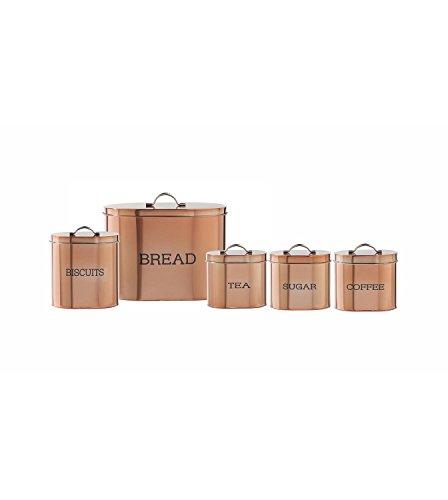 Ensemble de 5 boîtes de rangement ovales Couleur cuivre