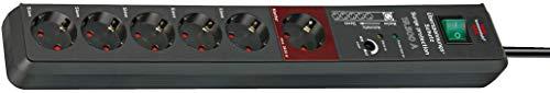Brennenstuhl Secure-Tec regleta enchufes con 6 tomas de corriente, protección contra sobretensión y función Master-Slave (cable de 3 m, interruptor) antracita