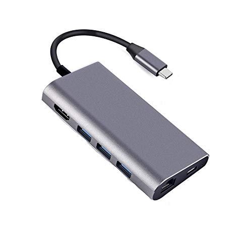 BAOZUPO Adaptador USB C Tipo C Tipo C Multiptor Adaptador HDMI Salida GIGABIT ETHERNET SD + Micro SD Ports 3 Puertos USB para MacBook Pro Samsung