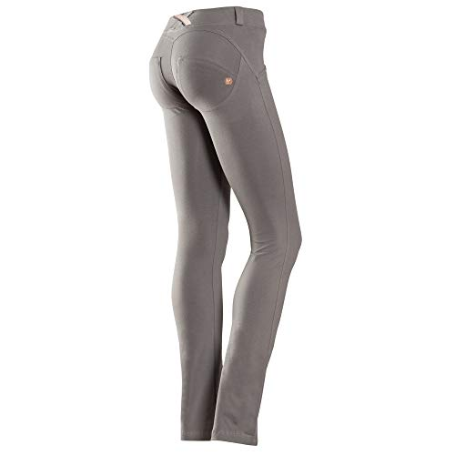 Freddy WR.UP Damenhose, formt, eng anliegend, gerade geschnitten, mit tiefer Taille, Damen, Shaping Effect, dunkelgrau, L