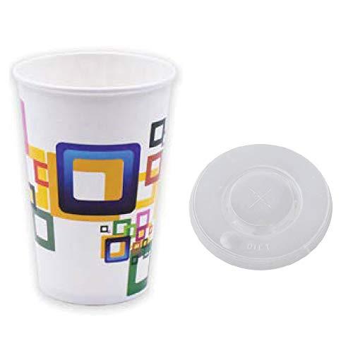 TELEVASO - 1000 uds - Vaso de cartón para Bebidas frías + Tapa, 90 mm de diámetro - Capacidad de 500 ml (16 oz) - Desechables y reciclables - Ideal para refrescos, Agua, zumos, Bebidas, Vino