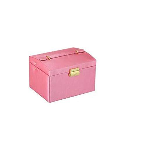 POMNEFE Caja de joyería, caja de almacenamiento de joyería de tres capas, caja de joyería de cuero de gran capacidad, caja de joyería con espejo, caja de joyería de diseño simple