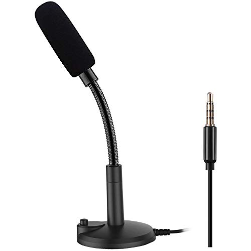 Computer Microphone: PC Microphone: Plug & Play 3.5mm Home Studio Condenser Microphone for Desktop/Laptop/Notebook,Recording for YouTube,Podcasting,Gaming,Online Chatting,Black