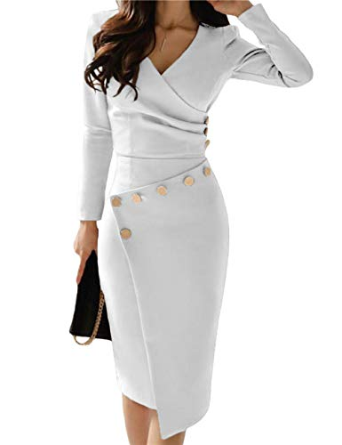 Lrady Women's Deep V Neck Casual Work Bodycon Cocktail Party Pencil Midi Dress, White, X-Large