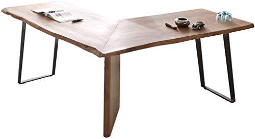 DELIFE Bürotisch Live-Edge Akazie 170x170 Baumkante Schreibtisch