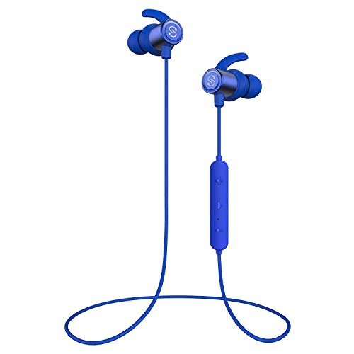 SoundPEATS Bluetooth Earphones, Wireless 4.1 Magnetic Earphones, in-Ear IPX6 Sweatproof Headphones with Mic (Superior Sound with Upgraded Drivers, APTX, 8 Hours Working Time, Secure Fit Design)-Blue