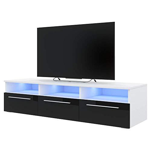 139 cm, Noir Mat//Noir Brillant, avec LED Selsey Inchel Meuble TV//Banc TV