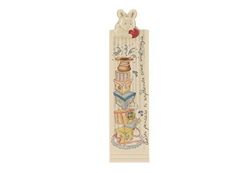 WALD - Segnalibro con Coniglietto in Ceramica Decorato a Mano - AFF/32/RE