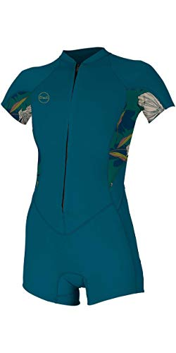 O';Neill Dames Bahia 2/1mm Shorty Wetsuit met Front Zip - French Navy Bridget - Easy Stretch - 2/1mm dikte
