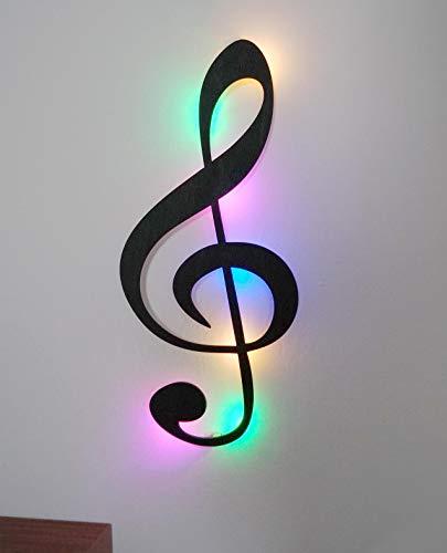 kh Teile Musik Note Dekoration (Holz) Wanddeko Wandschmuck, mit bunten Led Licht, 60 cm