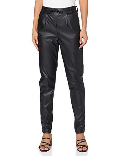 ONLY Damen ONLPOPTRASH Faux Leather Pant PNT Tall Hose, Black, L