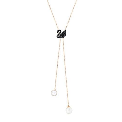 Swarovski Collar en Y Iconic Swan- Baño en tono Oro Rosa
