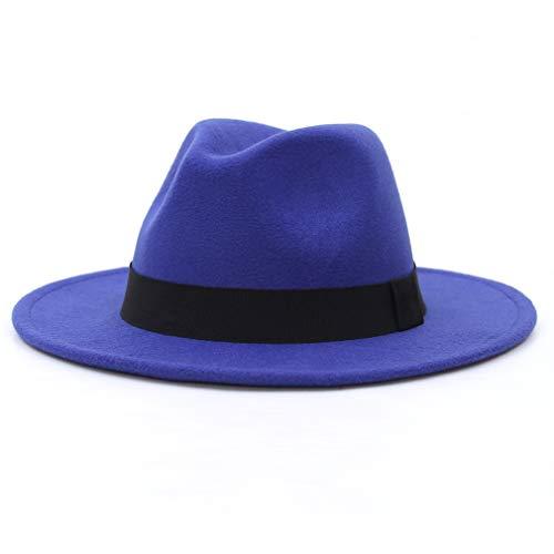 Jelord - Sombrero Fedora Hombre de Fieltro de Lana ala Ancha Sombrero Mujer Invierno Sombrerera de Jazz Clásico de con Cinta Vintage Elegante