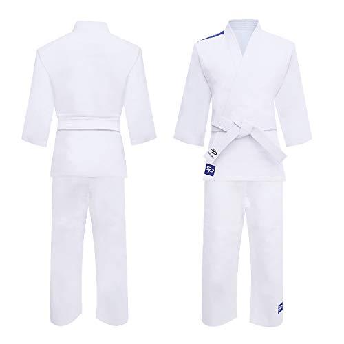 Starpro Kimono Judo GI 250 Grammi Com Miscela di Cotone Premium. Uniforme Professionale per Allenamento e Competizioni - Biano e Blu - Uomini, Donne e Bambini - 100-170 cm - Senza Cintura