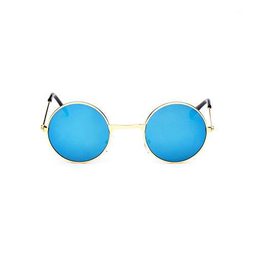 xingxing Gafas de sol redondas clásicas pequeñas para niños, lentes negras para niños, marco de metal, lentes de sol, lentes de color : C3)