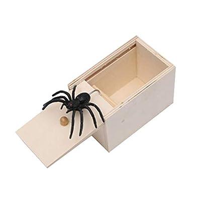 BIMOUR Spider Prank Scare Box Wooden Surprise Box?Handmade Fun Practical Surprise Joke Boxes April Fool's DayToys HalloweenGirls for Kids Adults Party Favors Gifts (1-pcs)