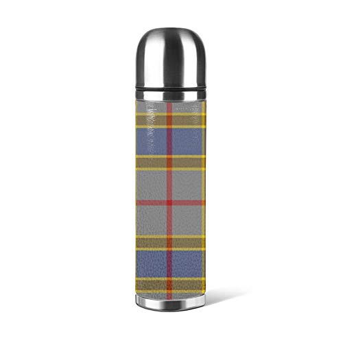 Stainless Steel Water Bottle Balfour Family Tartan Insulated Vacuum Leather Leak Proof Double Walled Container Packing Thermos 500ML