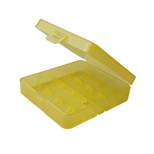 MMI-LX Batería 18650 - Soporte para cajas de almacenamiento, 4 ranuras de plástico, 4 fundas de plástico para contenedores AA 4 pilas AAA (color: amarillo)