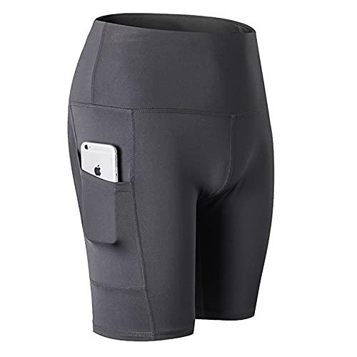Huntrly Pantalones Cortos de Yoga de Cintura Alta para Mujer, Bolsillos diagonales, para Correr, Entrenamiento, Deportes, Pantalones Cortos de Fitness elásticos Ajustados de Secado rápido L