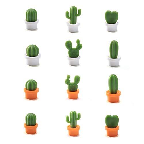 Lvjkes Kaktus Kühlschrank Magnete, 12Pcs Kühlschrank Magnete, Niedlicher Pflanzenkühlschrank Magnetisch für Küche Büro Kühlschrank Whiteboard, Mitteilungen, Kreative Magnetische Aufkleber-Dekoration