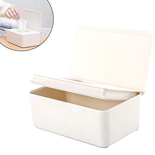 Gcroet 1pc Wipes Dispenser Gewebeaufbewahrungsbehälter-Kasten Feuchttücher Spender Halter Mit Deckel Für Eitelkeit, Theken, Schreibtisch, Büro, Dorm (weiß)