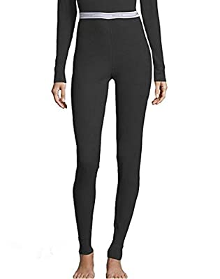 Hanes Women's Tagless Thermal Waffle Knit Pant with FreshIQ, X-Temp Technology & Organic Cotton - Plus Black
