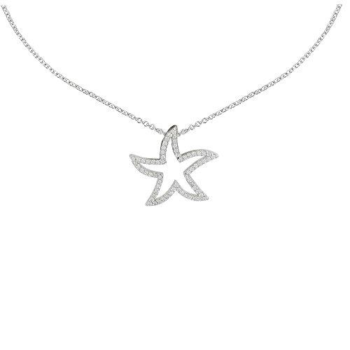 Schmuck Les Poulettes - Halskette Seestern Anhänger Silber Rhodium und Strass