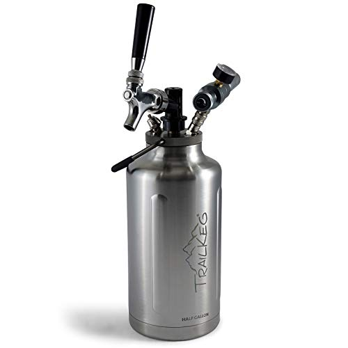TrailKeg Half Gallon Package - Stainless Steel Growler for Beer - Vacuum Insulated Double Wall Design - Chrome Tap and Dual Stage CO2 Regulator - Keeps Drinks Perfectly Cold and Carbonated