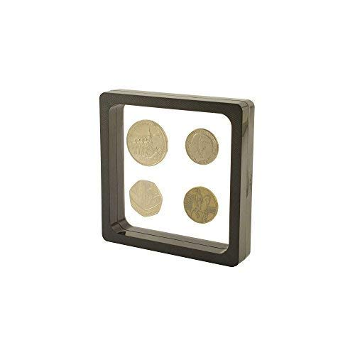 PELLER'S VISIO soft. 3D display frame for coins, badges, medalions, jewellery, figures. Black or White. M, L, XL (Black, 11x11)