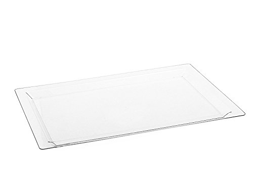 Rectangle Plastic Serving Tray Durable Clear Disposable Trays  Excellent for Weddings Buffets Dinner and Birthday Parties  18 x 12 inches 4 Pack