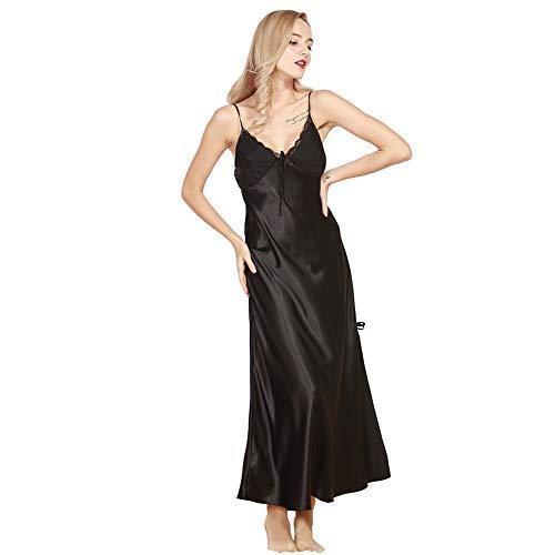 Damen Satin Nachthemd Negliee Spitze Sleepshirt Schlafanzug Charmant Ladies Lang Nachtwäsche Nachtkleid Lingerie Pyjamas Plus Größe Schwarz 2XL