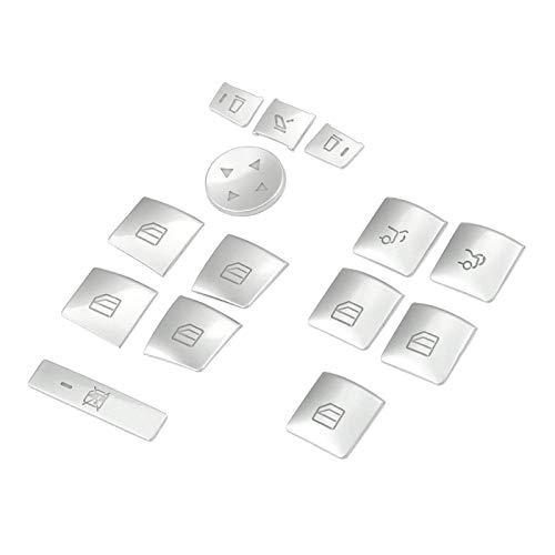 MIAOXIAO Seedling Store Puerta Interior Reproductor de la Ventana Interruptor de la Ventana Pegatina Pegatina Ajuste para Benz GLK ML GL A B C E G Class W04 W212 W246 W166 x166 (Color : Silver)