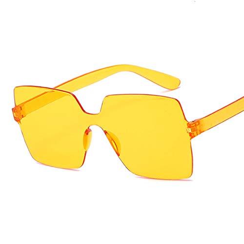 QYV Gafas de Sol cuadradas sin Montura de Moda Gafas de Sol de Sombras de Mujer,Dark Yellow