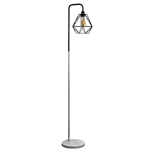 Retro Style Black/Chrome Metal & White Marble Base Floor Lamp - Complete with a Gloss Black Metal Basket Cage Shade