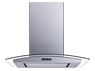 Winflo 30 In. Convertible Stainless Steel Glass Island Range Hood with Mesh Filter and Stainless Steel Panel