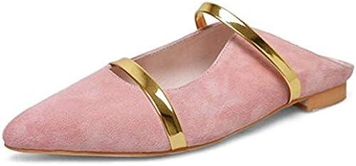 LFDGGX Pantoufles Pantoufles Pantoufles de Couleurs mélangées Femmes, Plus la Taille Toe Toe noir rose Summer Chaussures de Mode Chaussures en 795
